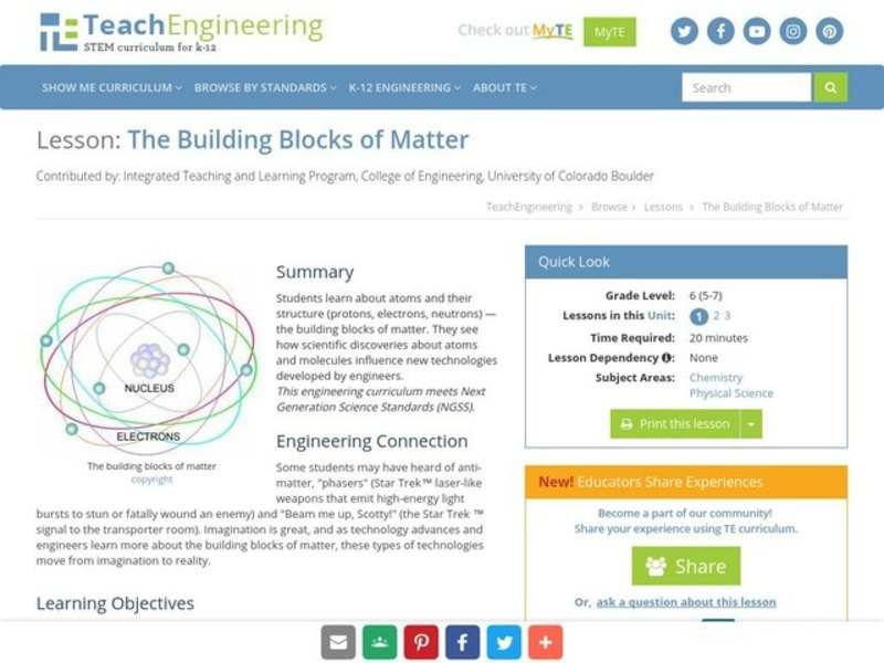 The Building Blocks of Matter Lesson Plan