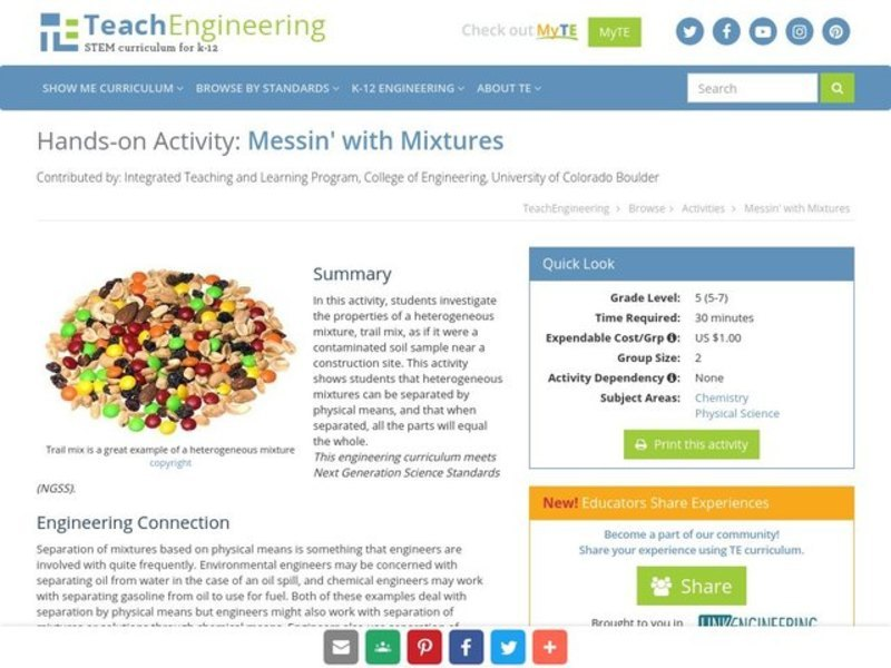 Heterogeneous Mixture Lesson Plans Worksheets Lesson Planet