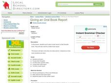 Giving An Oral Book Report Lesson Plan