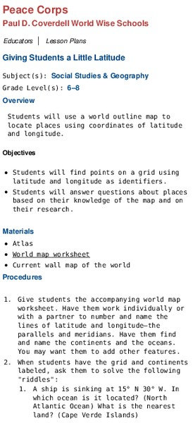 Giving Students a Little Latitude Lesson Plan