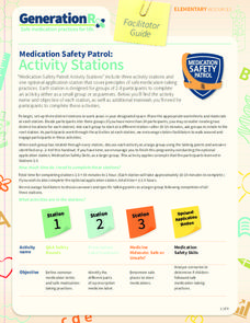 Medication Safety Patrol: Activity Stations Lesson Plan