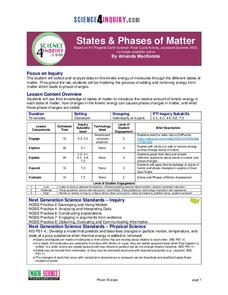 States and Phases of Matter Lesson Plan