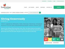 Giving Generously Lesson Plan
