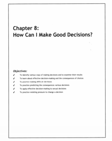 How Can I Make Good Decisions? Lesson Plan