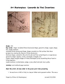 Art Masterpiece—Leonardo da Vinci Inventions Lesson Plan