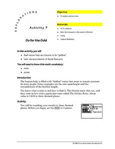 The Golden Ratio Worksheet for 5th - 8th Grade   Lesson Planet