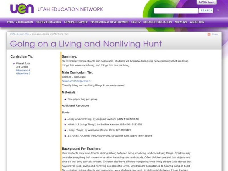 Going on a Living and Nonliving Hunt Lesson Plan
