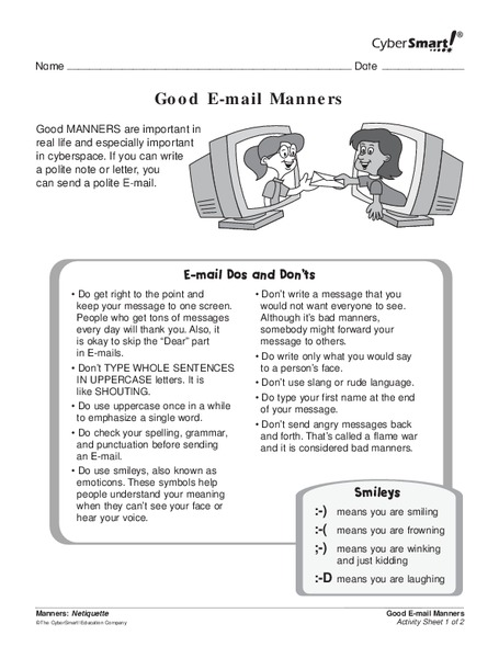 Good E-mail Manners Handouts & Reference