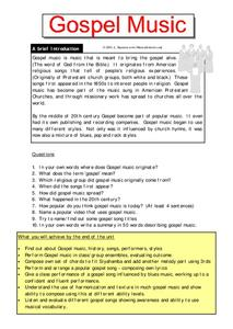 Gospel Music Worksheet
