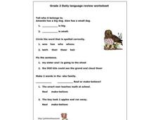 Grade 2 Daily Language Review Worksheet Worksheet
