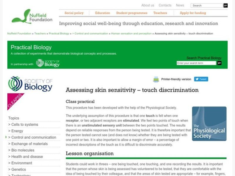 Assessing Skin Sensitivity—Touch Discrimination Lab Resource