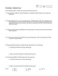 Graham's Law Worksheet
