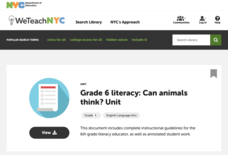 Grade 6 Literacy: Can Animals Think? Unit Unit