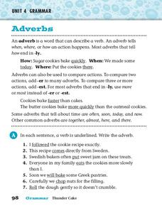 Grammar: Adverbs Worksheet for 3rd - 5th Grade | Lesson Planet