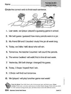 Grammar: Correct Verb Tenses Worksheet