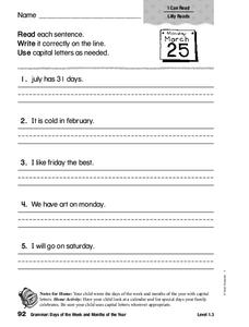 Grammar: Days of the Week and Months of the Year Worksheet