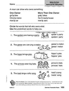 Grammar: Possessive Nouns Worksheet