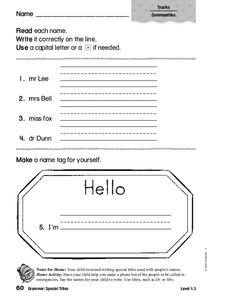 Grammar: Special Titles Worksheet