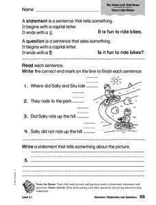 Grammar: Statements and Questions Worksheet