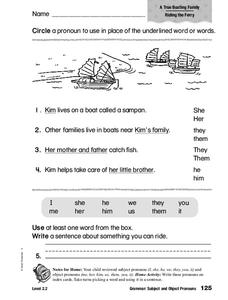 Grammar: Subject and Object Pronouns Worksheet