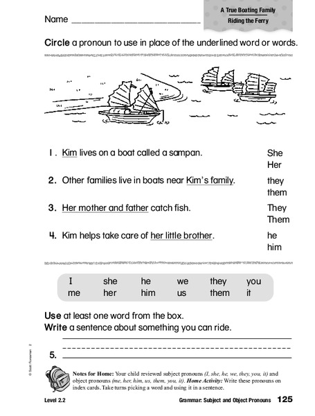 grammar subject and object pronouns worksheet for 2nd. Black Bedroom Furniture Sets. Home Design Ideas