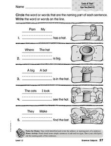 Grammar: Subjects Worksheet