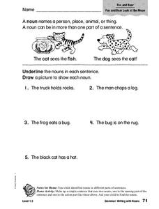 Grammar: Writing with Nouns Worksheet