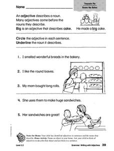 Grammar: Writing with Adjectives Worksheet