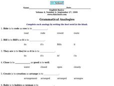 Grammatical Analogies Worksheet