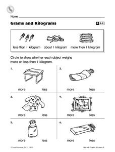 Grams and Kilograms Worksheet