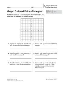 Graph Ordered Pairs of Integers Worksheet