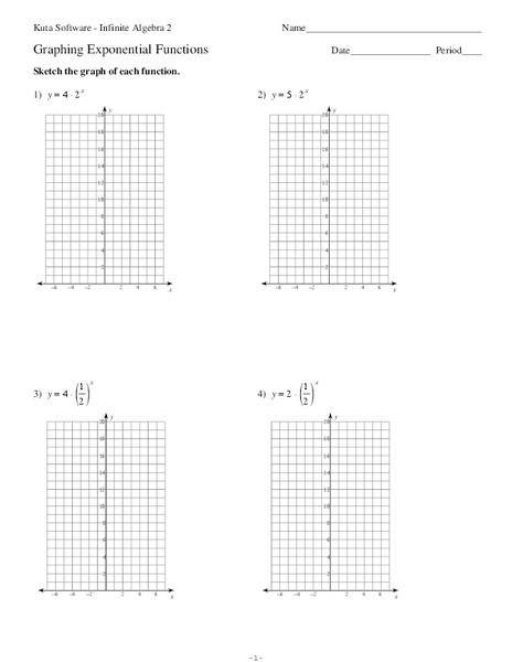 Transformations of exponential functions worksheet with answers
