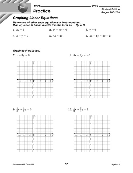 Graphing Linear Equations Worksheet for 9th Grade | Lesson ...