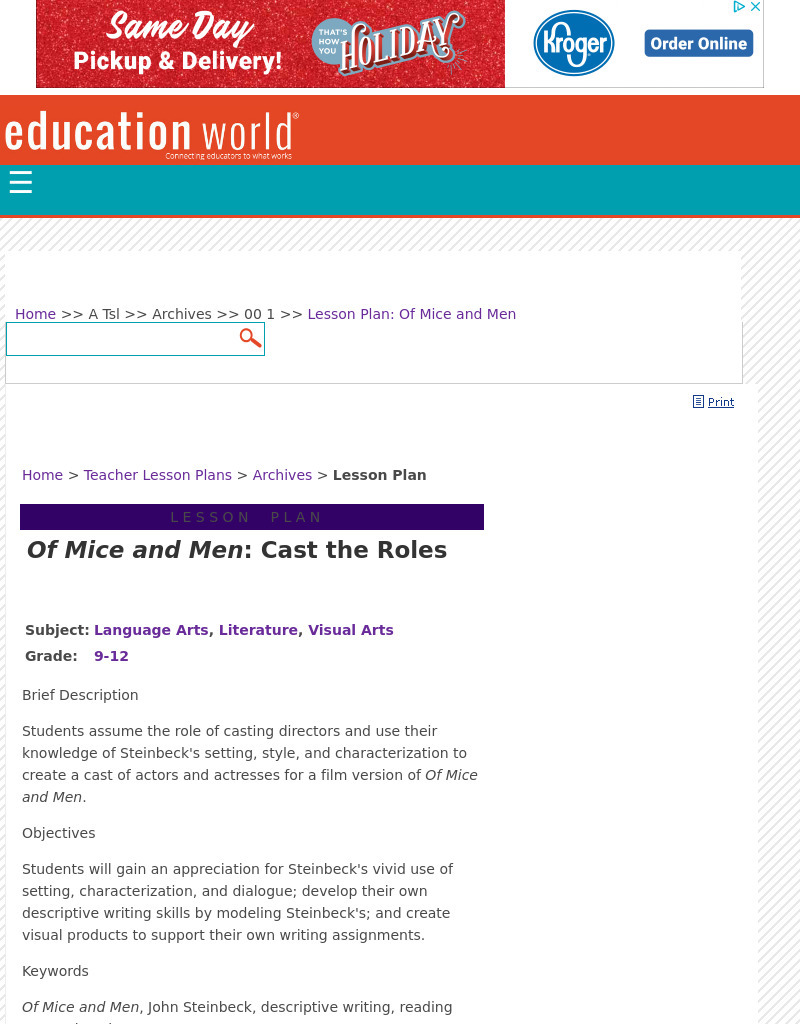 Of Mice and Men: Cast the Roles Lesson Plan