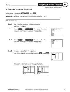 Graphing Nonlinear Equations Worksheet