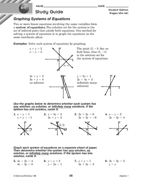 Graphing Systems of Equations Worksheet for 9th Grade