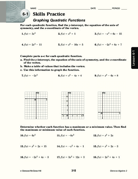 Graphing Quadratic Functions Worksheet for 11th Grade ...