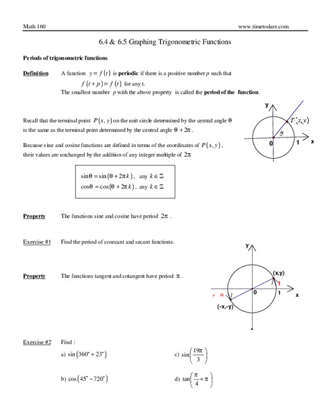 Graphing Trigonometric Functions Worksheet