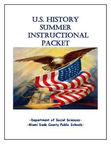 US History Summer Instructional Packet Study Guide