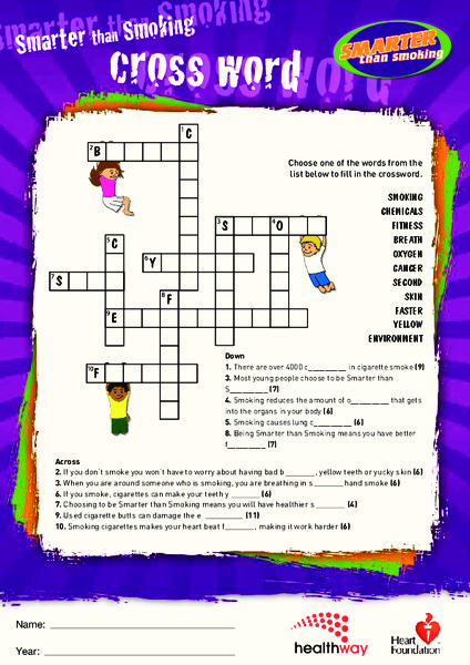 Smarter Than Smoking Crossword Worksheet