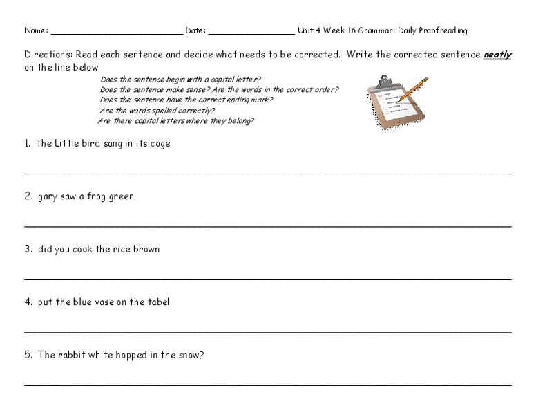 Daily Proofreading Unit 4 Week 16 Worksheet For 2nd 4th Grade