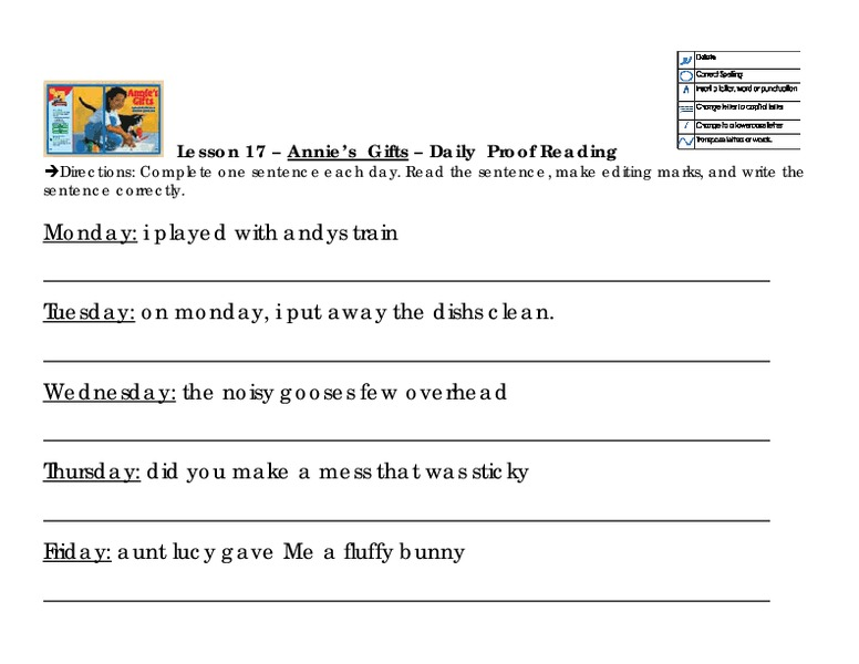Annie S Gifts Daily Proofreading Worksheet For 2nd 4th Grade
