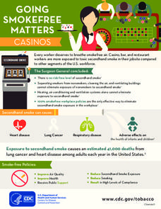 Going SmokeFree Matters: Casinos Handouts & Reference