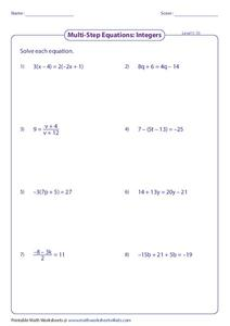 Solve Multi-Step Equations Worksheet for 4th - 6th Grade ...