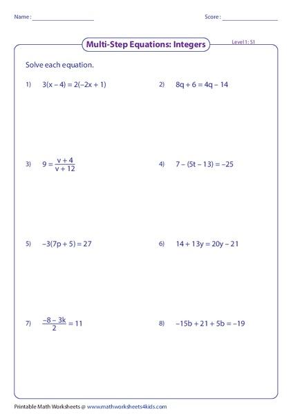 Solving Two Step Equations Worksheet 6th Grade - Tessshebaylo