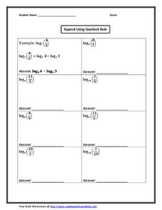Expand Using Quotient Rule Worksheet for 9th   11th Grade ...