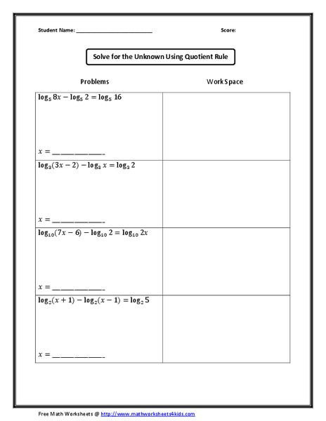 Using The Quotient Rule Worksheet For 9th 12th Grade