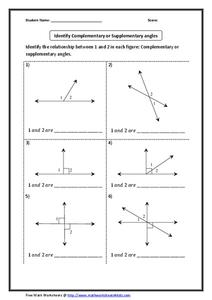 Relationship of Angles Worksheet for 4th - 7th Grade ...