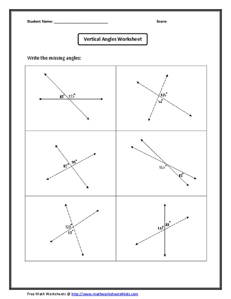 Vertical Angles Worksheet Worksheet For 10th Grade
