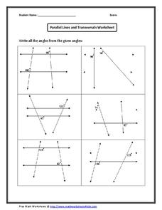 Geometry Unit 2 Parallel Lines And Transversals Worksheet ...
